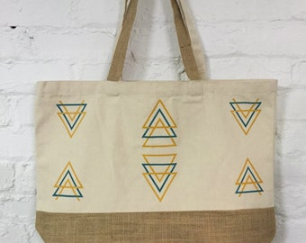 Geometric Cotton and Jute Tote