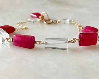 Dainty Bracelet, Aquamarine Bracelet, Gemstones Bracelet, Beads Bracelets, Tennis Bracelet, Gemstones Bracelet, Fuschia Bracelet