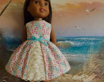 "14 and 14.5"" Doll Dress NEW Style Garden Party Pastel Pink and Seafoam Green  Florals Fits Dolls Like H4H and Wellie Wishers"