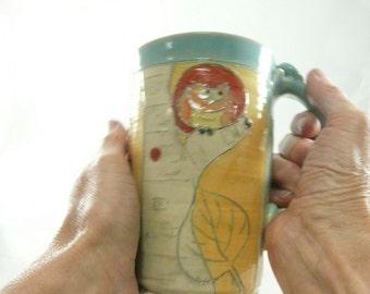Gifts for Teachers Ceramic Coffee Mug, Pottery Cup Tea Mug, Clay Large Mug Travel Mug, Unique Coffee Mug, Tankard, Beer Stein Dinnerware 646
