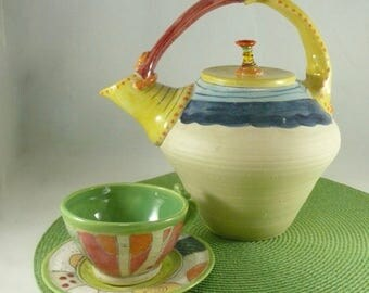 Colorful and Fun Teapot - Artistic and Collectible Wedding Gift Mother's Day Gift  -  Functional and Decorative Home Decor - Tea Pot Set