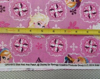 Disney Frozen Elsa Anna Patch PINK Gold Glitter Cotton Fabric Springs Creative BTY 43/44 Free Ship USA