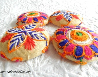 4 beige blue red embroidered floral fabric buttons, 1 .5 inches,  3.81 cm, 38.1 mm, size 60 buttons