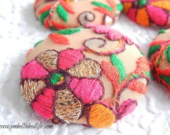 4 pink multi embroidered floral fabric buttons,  1 7/8 inches, 1.9 inches, 4.7 cm, 48.26 mm, size 75 buttons