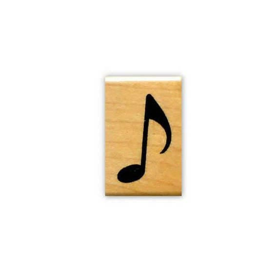 Music Note mounted rubber stamp, musical, eighth note, quaver ...