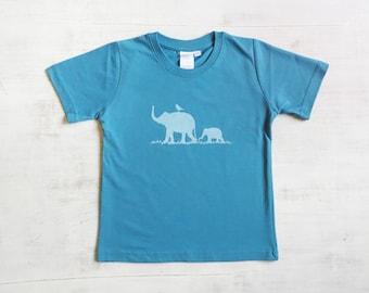 Toddler T Shirt- Organic Cotton T Shirt- Childrens Graphic Tee Shirt- Elephant Shirt- Blue T Shirt- Organic Cotton Clothing