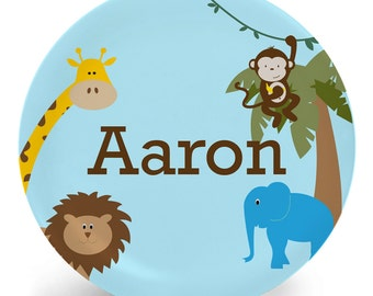 Jungle Plate - Jungle Animals Melamine Bowl or Plate Personalized with Name