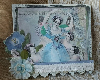 Ballet assemblage collage shabby chic romantic blue wall decor