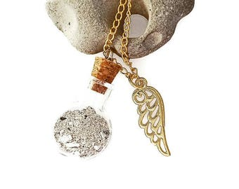 Glass Bottle Keepsake grieving cremation urn with gold Angel Wing Necklace, Angel, Ashes keepsake, Pet urn, Romanza Jewelry