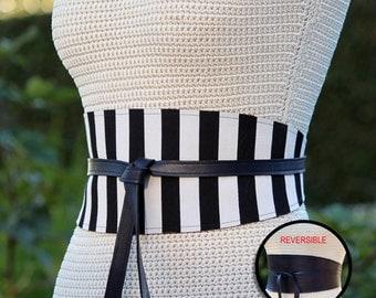 REVERSIBLE Leather and Fabric Obi Wrap Sash Belt - Cabana Stripe Cincher - XS S M L XL Plus & Petite Size - wide cinch belt - custom made