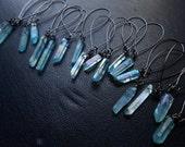 mana - blue crystal earrings aura quartz crystal earrings boho earrings occult earrings  dangle earrings aquamarine  earrings stretched lobe