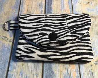 Snap Id Card Holder/Wallet Black and White Zebra Stripe Print