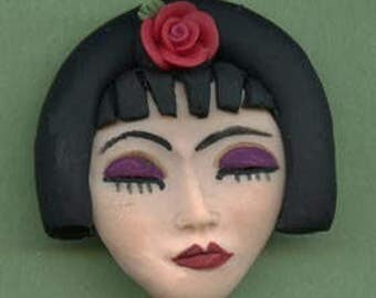 "Polymer Clay  detailed 2 ""x 2""   Asian  Geisha  Face Cab Un Drilled NFLGS 1"