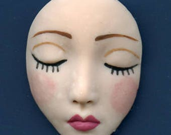 "Polymer Clay Larger  1 1/2""  Fleshtone  Detailed  Medium Angel Face Cab Un Drilled  CDF 1"