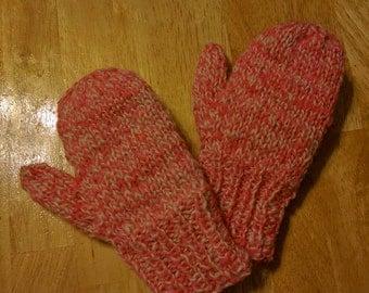 Handspun/Handknit Mittens Wool Stuffed/Thrummed