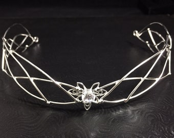Fantasy Wedding Bridal Circlet, Sterling Silver Faery Circlet, Fae Renaissance Bridal Tiara, Handmade Wedding Circlet  with Faceted CZ