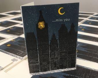 "4B Buildings ""miss you"" letterpress card"