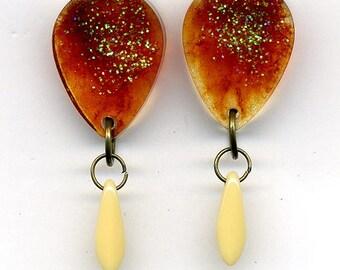 Resin drop Earrings –   Light  –Dagger Glass Beads - Nickel free studs