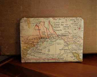 Cosmetic Makeup Zippered Bag Cotton Cloth World Map Design Ready To Ship