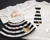 Brother sister outfits... SIBLING CLOTHES--- new baby... Black and white stripes with gold appliqués