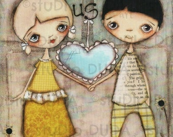 Print of my Original Mixed Media Painting - I Like Us - 8 x 10 print