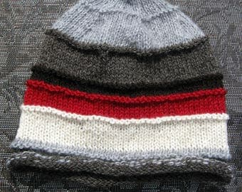 Knit Wool Hat for Men or Women, Alpaca Handmade Beanie, Striped Slouch, Gray, White Red, and Black Hat, Father's Day Gift