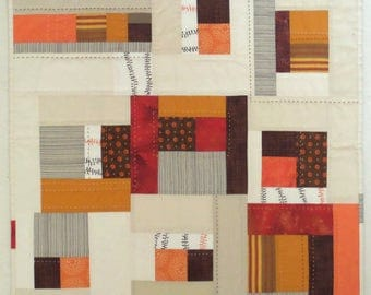 NEW Orange Spice Tea Modern Patchwork Art Quilt, Wall Hanging, Table Topper