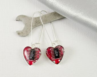Circuit Board Earrings Red Hearts, Sterling Silver Dangle Earrings, Wearable Technology, Geek Earrings Gift, Geeky Valentines Day Gift