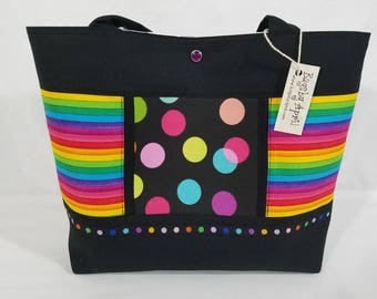 Rainbow Dots and Stripes purse tote bag