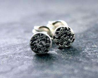 Raw Silk Studs, Earrings, circle, barrel, 925, sterling, silver, post, modern, simple
