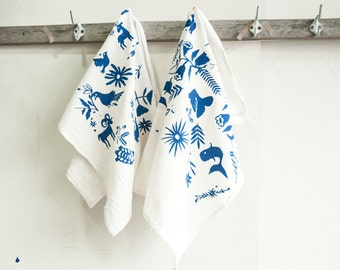 Set of 2 Dishtowels-Blue Otomi Print