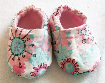 Baby Girls Pink Aqua Shoes, Soft Fabric shoes, Handmade, Baby Shower Gift, Made in the USA, #10