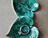Cermic Leaf TWO Small Ring Dishes edged in gold Malachite green edged in gold