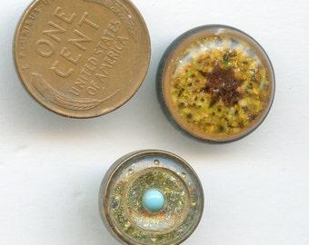 Pair (2) Victorian Buttons DESIGN UnDER GLASS Small DUG 3301