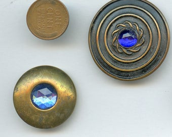Cobalt Victorian Jewel  Buttons  Pair (2) Antique BLUE  circa 1915 Set in Metal 3490