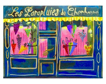 Umbrella shop • The Umbrellas of Cherbourg • Les Parapluies de Cherbourg • giclée art print • small limited edition • french new wave • demy