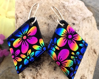 Rainbow Hand Etched Flower Earrings Dichroic Fused Glass with Sterling Silver