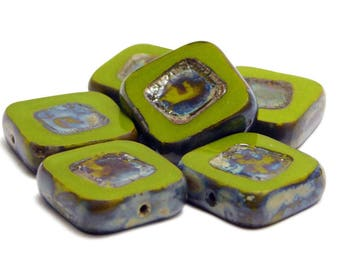 Czech Picasso Beads - Chunky Beads - Czech Glass Beads - Square Beads - Chartreuse Green - 14mm - 6pcs (5057)