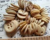60 Antique Bone Buttons. Some are Five Hole. Shabby Beauties. Reenactors.