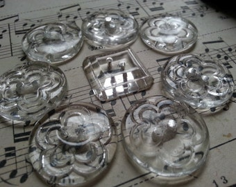Eight lovely carved glass buttons, vintage.