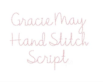 "1.5"" Gracie  Handstitch Script Machine Embroidery Font Hand Stitch Monogram Instant Download  BX PES"