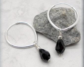 Black Teardrop Crystal Hoops, Sterling Silver, Gift for Her, Black Earrings, Hoop Earring, Swarovski Crystal Earrings, Silver Hoops SE645
