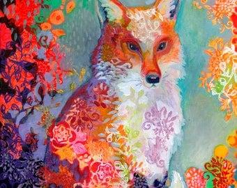 a Festive Fox - ORIGINAL acrlylic Painting, 16x20 by JENLO