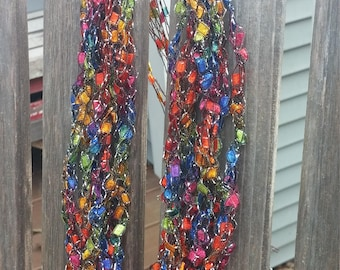 Carnival Colors Sparkly Trellis Yarn Necklace