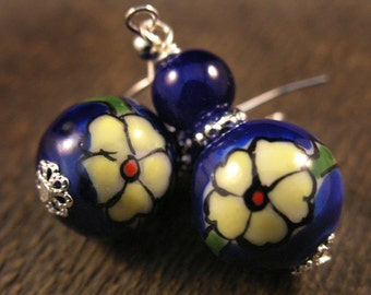 Spring Flowers - Choice of 5 colors-Ceramic hand painted beads, glass and stone handmade silver earrings