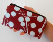 Zipper Pouch Smart Phone Pouch ECO Friendly Padded NEW SIZE Chestnut Branches on Eggplant