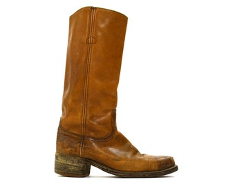70s FRYE Campus Boots Vintage 1970s Tall Distressed Brown Leather Western Motorcycle Cowboy Boots Pull On Block Heel Men Size 10 D Women 11