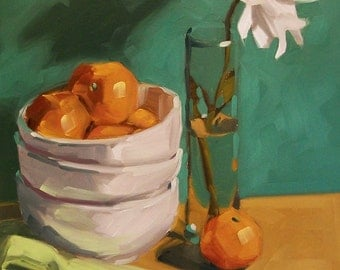 ORANGE STILL LIFE original still life oil painting