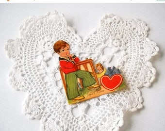 Die Cut Valentine Card, Vintage Stand Up Easel Back, Holiday Paper Ephemera, Art Deco Valentine's Day, Made In Germany