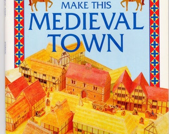 Medieval Town Paper Cut Model Kit Craft Supplies Cutting & Scissors Softcover Usborne Publishing English Heritage Medieval Village Kit